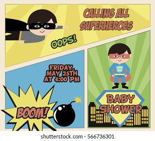 Baby Shower card invitation with superheroes in comics style. Vector illustration