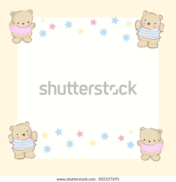 Baby Shower Baby Card Invitation Template Stock Vector