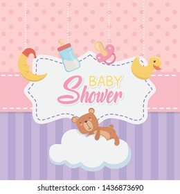 baby shower card with little bear teddy and accessories set