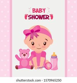 baby shower card with little girl vector illustration design