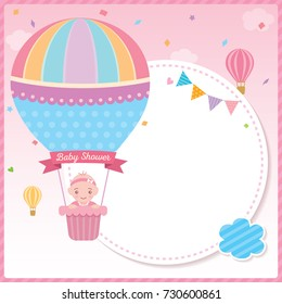 Baby shower card for newborn design with baby girl on cute hot air balloon on pink sky background.