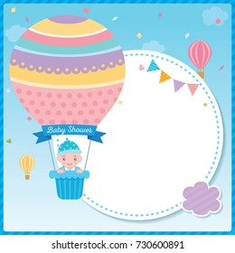 Baby shower card for newborn design with baby boy on cute hot air balloon on blue sky background.