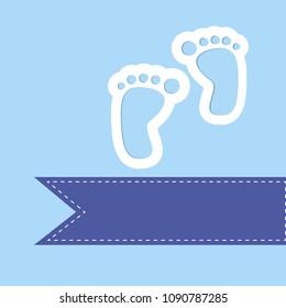 baby shower card over blue background. vector illustration