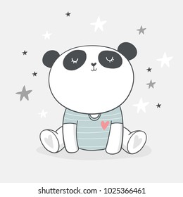 Baby Shower Card. Panda vector print. Love Panda