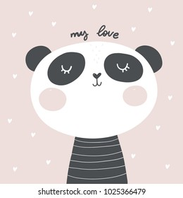 Baby Shower Card. Panda vector print. Love Panda