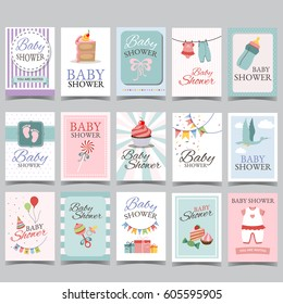 Baby shower card set for boy for girl Happy birthday party its a boy its a girl Newborn toddler celebration greeting or invitation card poster vector.
