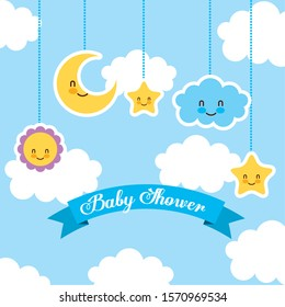 baby shower card with set icons hanging vector illustration design