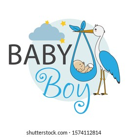 Baby shower card. Stork with baby boy