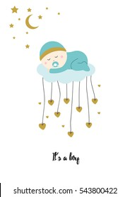 Baby shower card with sweet boy