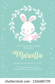 Baby Shower card template with cute bunny sitting