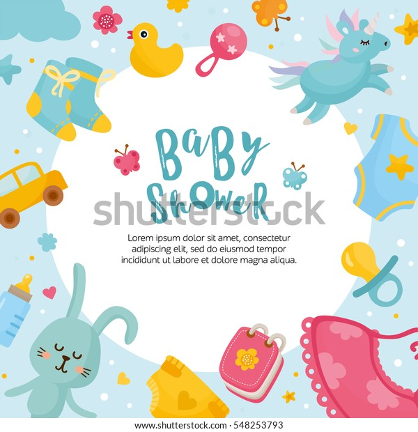 Baby Shower Card Template Round Frame Stock Vector Royalty Free