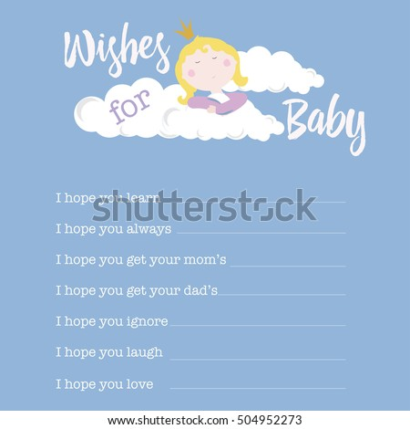 baby shower card template wishes baby stock vector royalty free