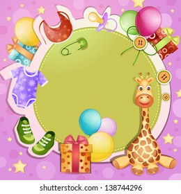 Baby shower card with toys and baby clothes