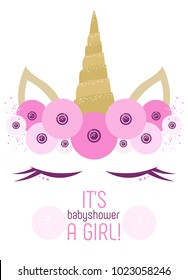 Baby Shower Card With Unicorn Face
