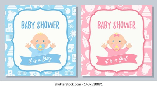Baby Shower card. Vector. Baby boy, girl invite design. Pink, blue banner. Welcome template invitation Cute birth party background. Happy greeting poster with newborn kid. Cartoon flat illustration.