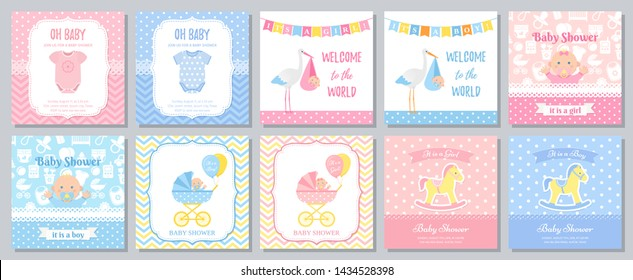 Baby Shower card. Vector. Baby girl boy invitation. Welcome invite template banner. Blue pink design. Birth party background. Greeting posters with newborn kid, stork, onesie. Cartoon illustration