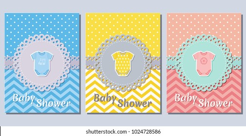 Baby shower cards. Cute invitation for baby shower party lacy frames. Vector illustration. Set greeting background for boy and girl with bodysuit. Holiday templates of die laser cutting.