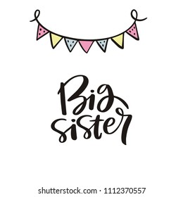 Baby shower cards with lettering. Big sister