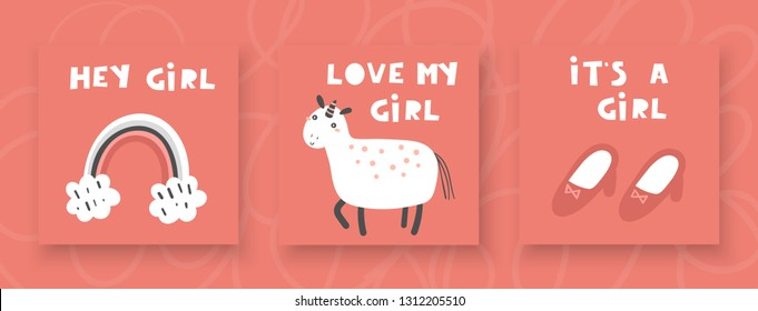 Baby shower cards, postcards for newborn girl with unicorn, rainbow, shoes, hey girl, love my girl, it's a girl lettering quotes. Cute invitations, pages, cover for kids