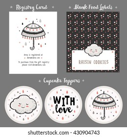 Baby Shower Cards Templates and Gift Tags with cute clouds and umbrella