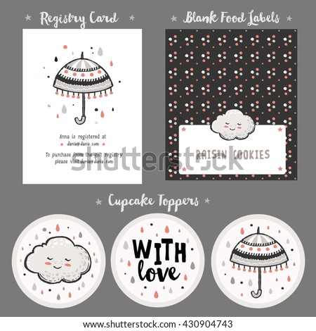 Baby Shower Cards Templates Gift Tags Stock Vector Royalty Free