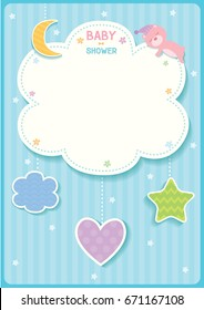 baby shower cute card design with cloud, star,moon,heart and sleeping bear for blue template frame.