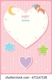 Baby shower cute card design with heart, star,moon,cloud and sleeping bear for pink template frame.