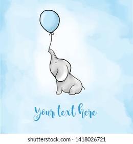 Babydusche süßer Elefant mit Ballons für Jungen Einladungen