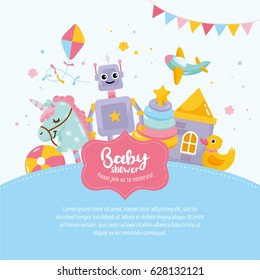Baby Shower cute greeting card. Amazing kids illustration. Toy aircraft, little robot, unicorn, house. Hand lettering template. Place for text.