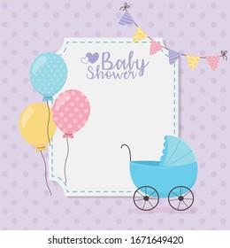 Baby shower design, blue pram balloons pennants decoration card vector illustration