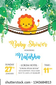 Baby shower design with cute lion on the bridge