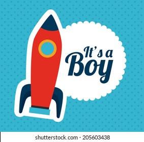 Baby shower design over blue background, vector illustration