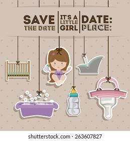Baby Shower design over pastel background, vector illustration