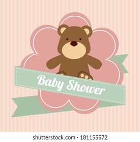 baby shower design  over pink background vector illustration