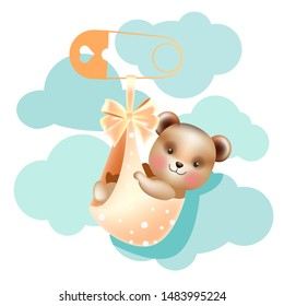 Baby shower design template with cute baby bear