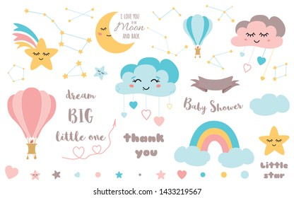 Baby shower elements Cute design element for nursery Moon cloud star rainbow hot air balloon ribbon Big Bear constellation Baby icon vector set Colorfull illustration to design card banner invitation.