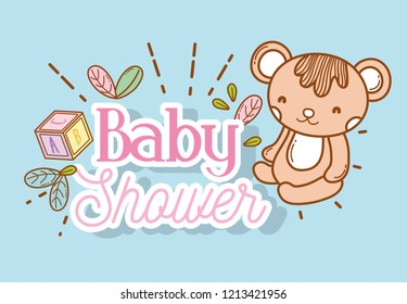 baby shower event with teddy and cube decoration