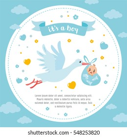 Baby shower frame. Stork carrying a cute baby in a bag. It's a boy! Baby boy announcement card template. Place for your text.