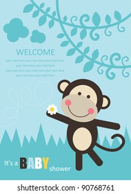 baby shower with fun monkey. vector illustration
