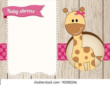 Baby shower giraffe girl card