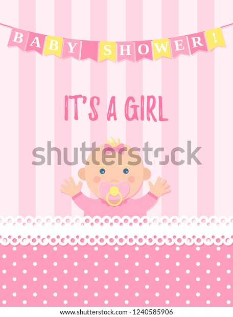 Baby Shower Girl Card Vector Baby Stock Vector Royalty Free 1240585906