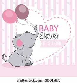 Baby Shower Girl. Elephant With Balloons