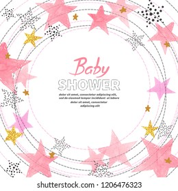 Baby Shower girl invitation card design with watercolor pink stars.