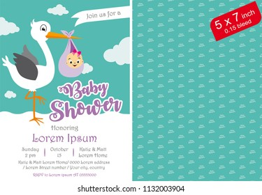 Baby Shower Girl Invitation Template Invite Printable
