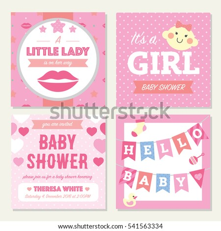 baby shower girl invitation template stock vector royalty free
