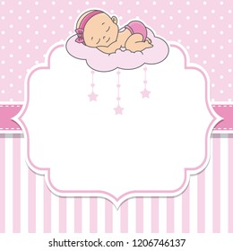 baby shower girl. baby girl sleeping on the cloud.Space for text