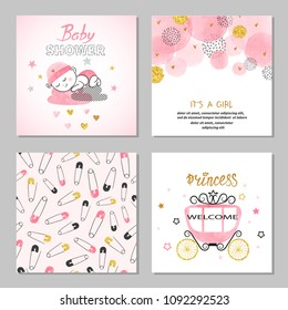 Baby Shower girl vector set in pink and golden colors.