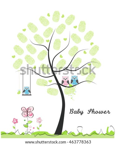 Baby shower greeting card baby boy stock vector royalty free baby shower greeting card baby boy baby owl owl family with made of m4hsunfo
