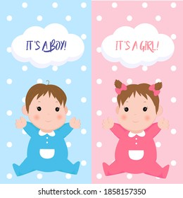 Baby shower greeting card with cartoon babies boy and girl.
