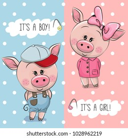 Baby Shower greeting card with Cute Pigs boy and girl